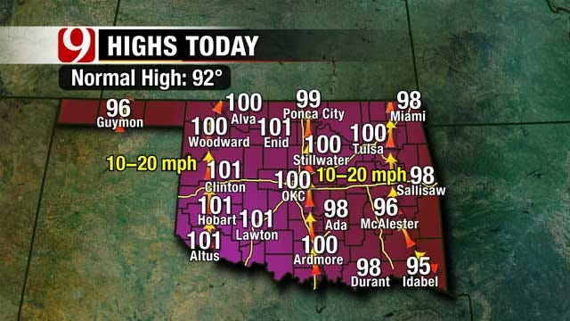 Sunday Highs Reach 100 Or More For Most Of Oklahoma