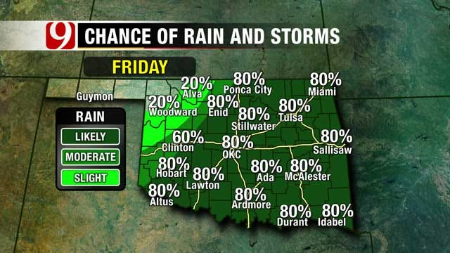Rain, Cooler Weather On Tap For Oklahoma Weekend
