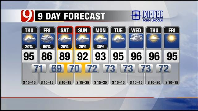 Partly Cloudy, Slight Chance Of Thunderstorms Thursday In Central OK