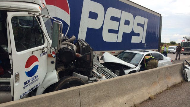 Crews On Scene Of Accident Involving Semi On I-235 In NW OKC