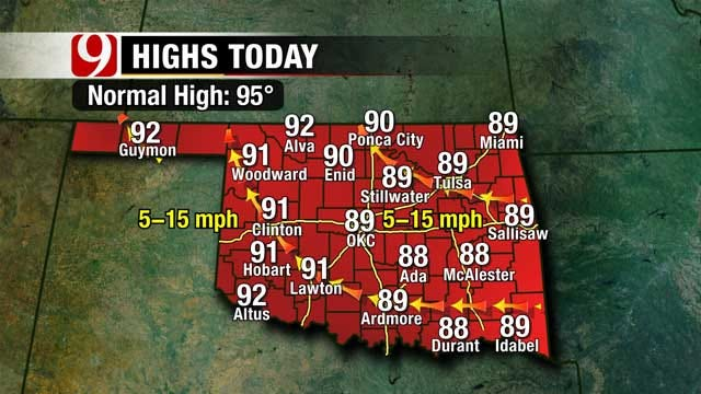 Another Sunny Day Across Oklahoma, Highs To Reach Upper 80s