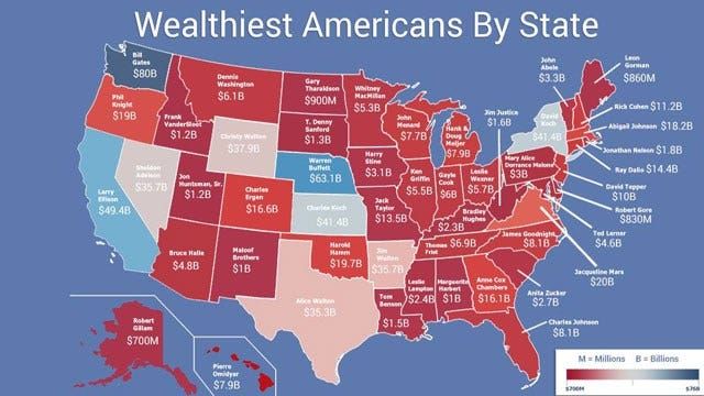New Map Shows Wealthiest Person In Oklahoma And Other States