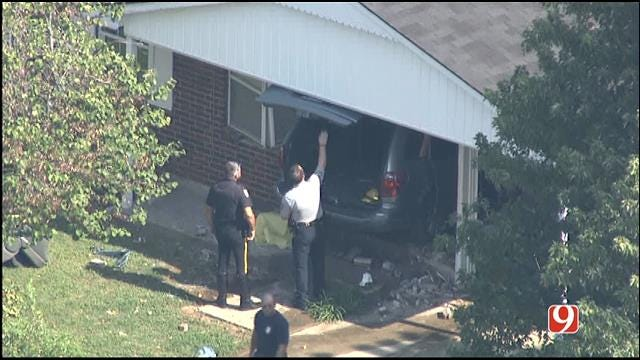 Two Injured After Van Crashes Into Midwest City Home