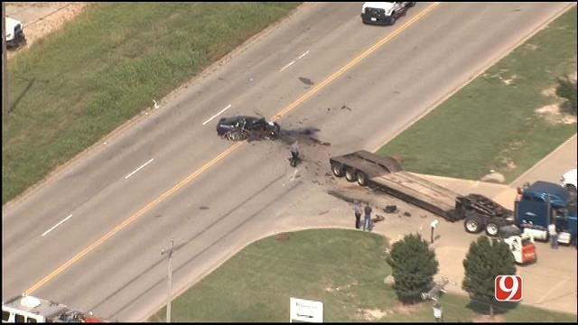 One Critical After Car, Semi Collide In SW Oklahoma City