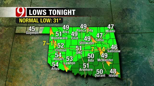 Fog Lingers Overnight, Possible Storms In Oklahoma On Sunday