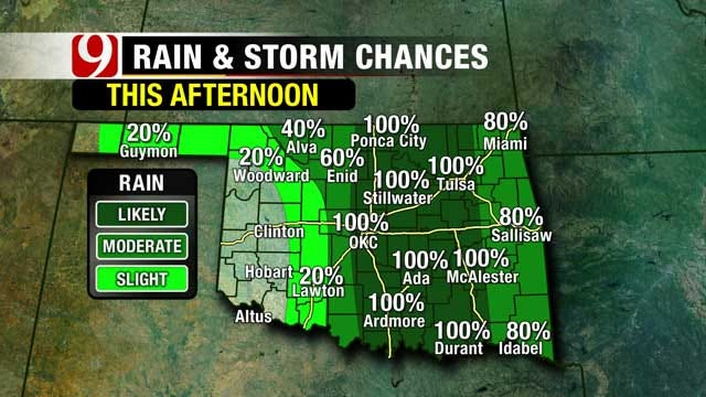 Rain and Storms Ongoing In Oklahoma