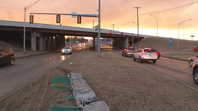 Wreck Causes Damage To I-40 Bridge, At SE 29th In MWC