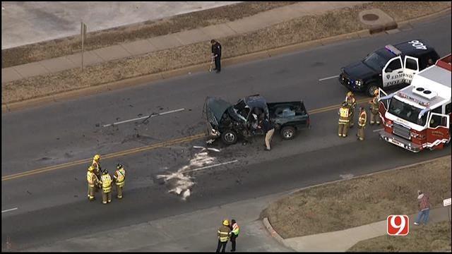 Teen Injured After EMSA Unit, Pickup Crash In Edmond