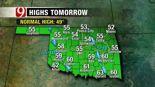 Oklahoma Cold Front Moves In; Gone By Christmas