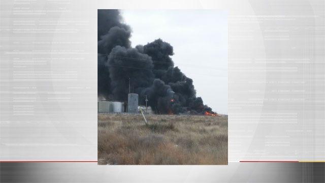 Crews Battle Large Oil Battery Fire Near Guymon