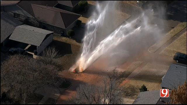 Water Main Break Soaks Neighborhood In Northwest OKC
