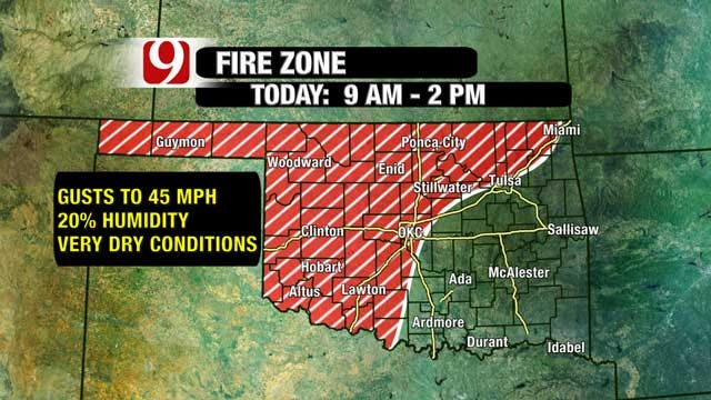 Fire Danger High In Oklahoma Monday