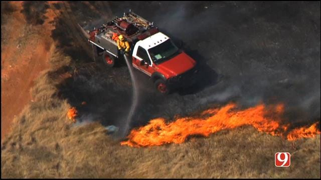 Oklahoma Firefighters Battle Grass Fires
