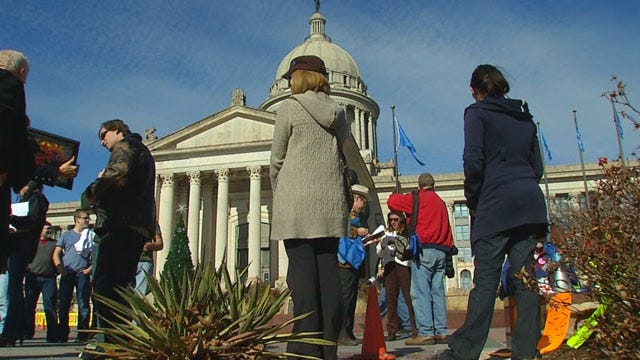 Protesters At Capitol Send 'Smoke Signal' To Governor Fallin