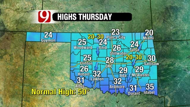 Arctic Cold Returns To Oklahoma In Two Waves
