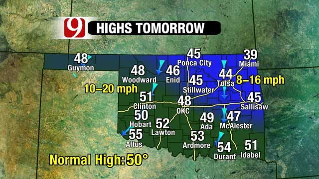 Coldest Air To Arrive In Oklahoma Thursday Morning