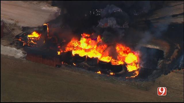 Crews Battle Tank Battery Fire Near Perry