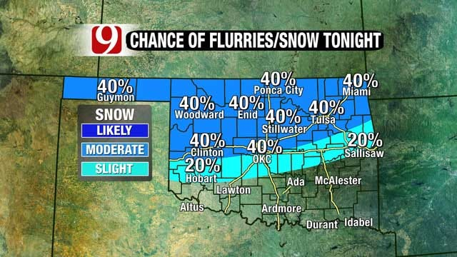Temperatures In The Teens, Possible Light Snow