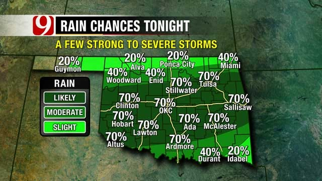 Overnight Rain Chances Good For Central Parts Of Oklahoma