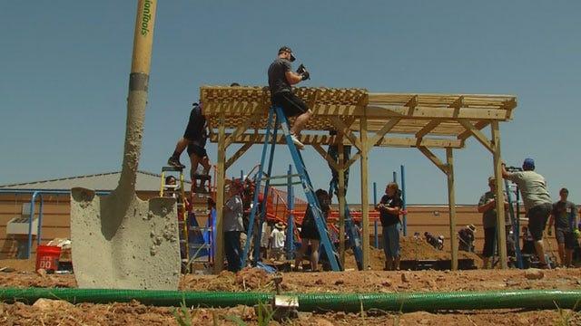 Volunteers Build New Playground For Briarwood Elementary School
