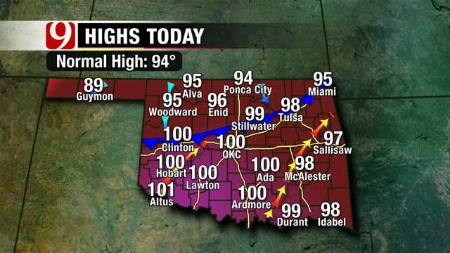 Good Rain Chances, High Temperatures Across Oklahoma Sunday