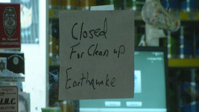 Damage Reported In Downtown Harrah Following Earthquakes