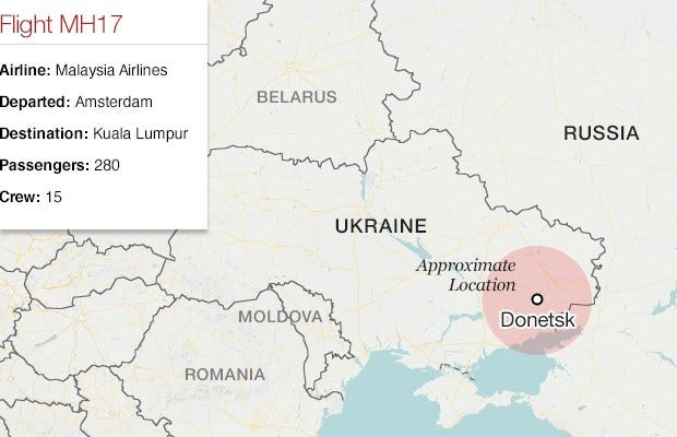 Malaysia Airlines Flight 17: Ukraine Says Plane With 295 On Board Shot Down