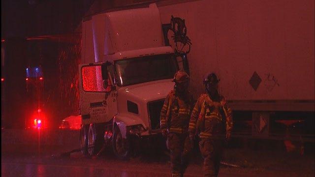 Semi-Truck Jackknifes, Spills Gravel On I-35 In Edmond
