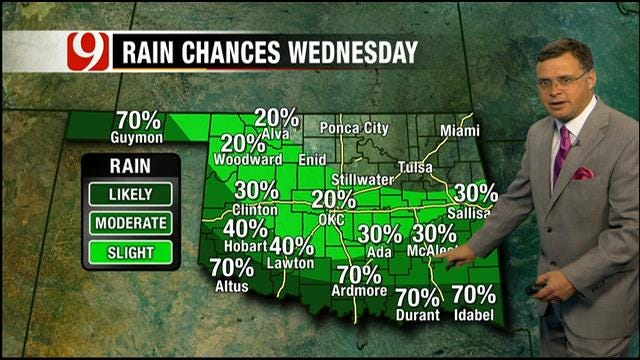 Slight Chance For Rain, Thunderstorms Late Wednesday In Oklahoma