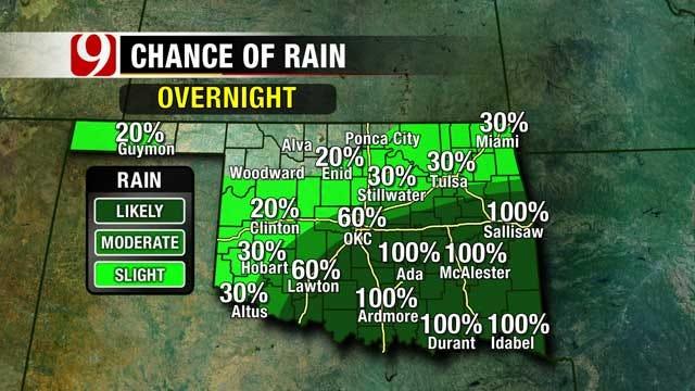 Heavy Rain Pushes Into SE Oklahoma Overnight