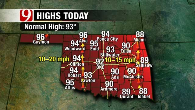 Highest Temperatures In Western Oklahoma Saturday