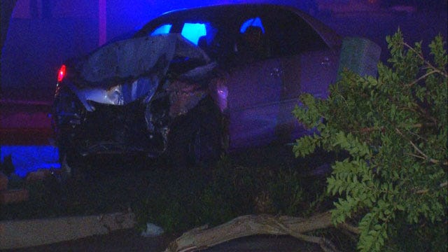 One Injured After Car Hits Tree, Catches Fire In NE OKC