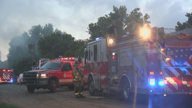 Fire Destroys Home Near Lake Stanley Draper In OKC