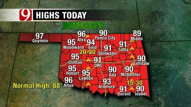 Hot, Humid And Windy Monday Across Oklahoma