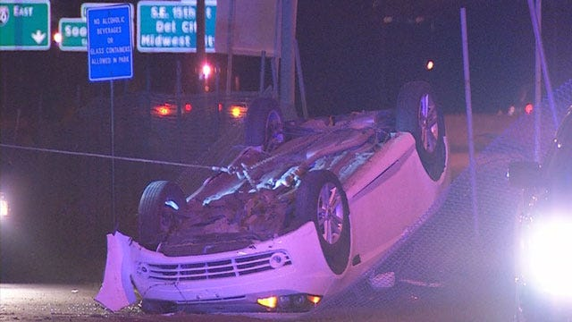 Two Men Flee Following Del City Rollover Crash
