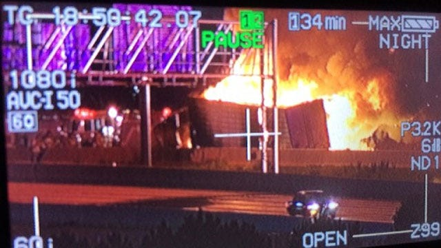 Semi-Truck Fire Shuts Down I-40 Westbound Near I-44