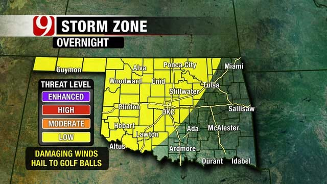 Overnight Thunderstorms Possible In Oklahoma
