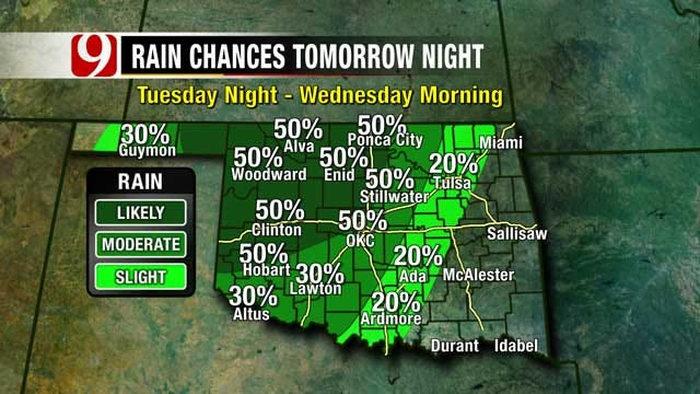 Slight Chance Of Storms Possible For Far Western Oklahoma