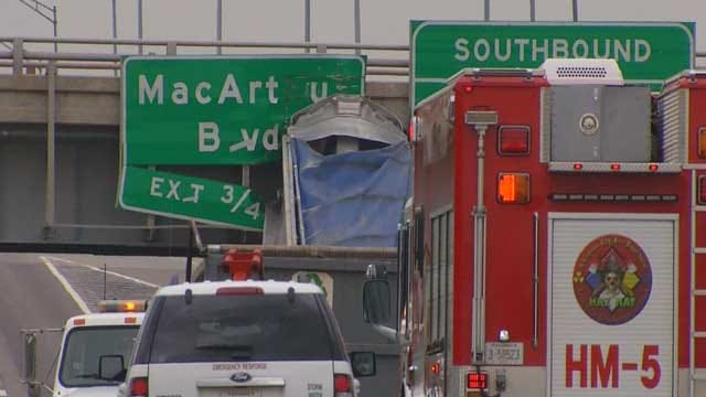 Road Reopens After Semi Accident In Southwest Oklahoma City