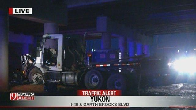 Semi-Truck Hits I-40 Bridge Pillars In Yukon
