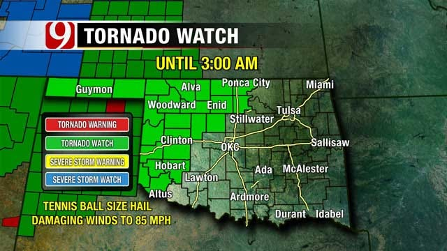 Tornado Watch Issued For Western Oklahoma