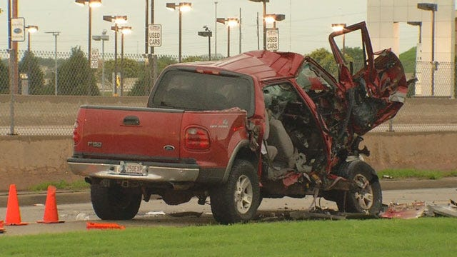 One Critically Injured After Pickup Slams Into Parked Semi In NE OKC