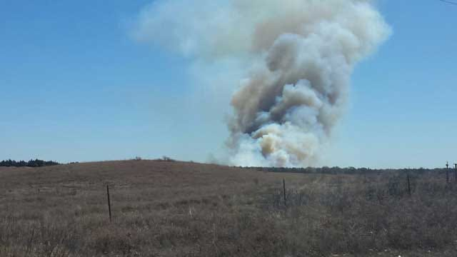 Oklahoma Firefighters Battle Multiple Grass Fires