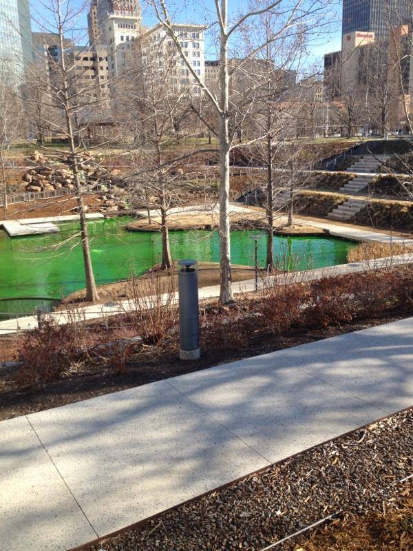 Police Investigate Green Water At Myriad Gardens