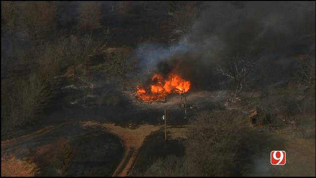 Home Destroyed In Logan County Grass Fire