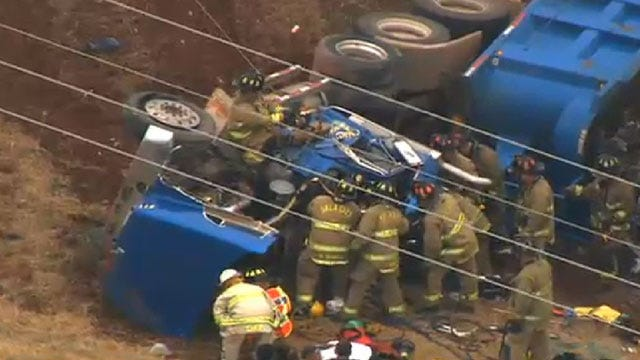 Crews Free Trapped Driver Following Semi Wreck Near Mustang
