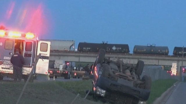 Crews Respond To Rollover Crash On I-240 Near I-35 In OKC
