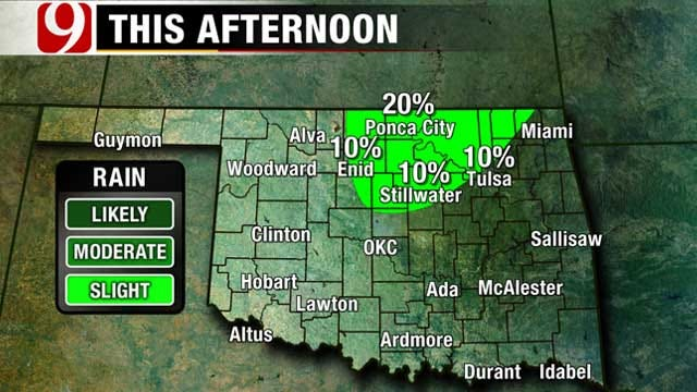 Warm, Humid Day Ahead For Oklahoma; Slight Chance Of Storms North
