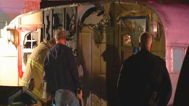 Camper Catches Fire In Front Of Mustang Home