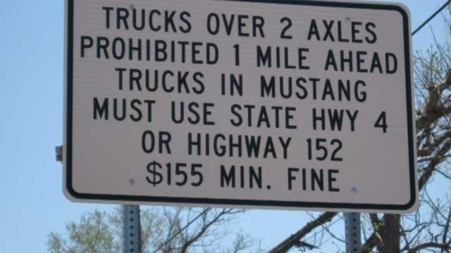 City Of Mustang 'No Truck' Signs Removed In OKC
